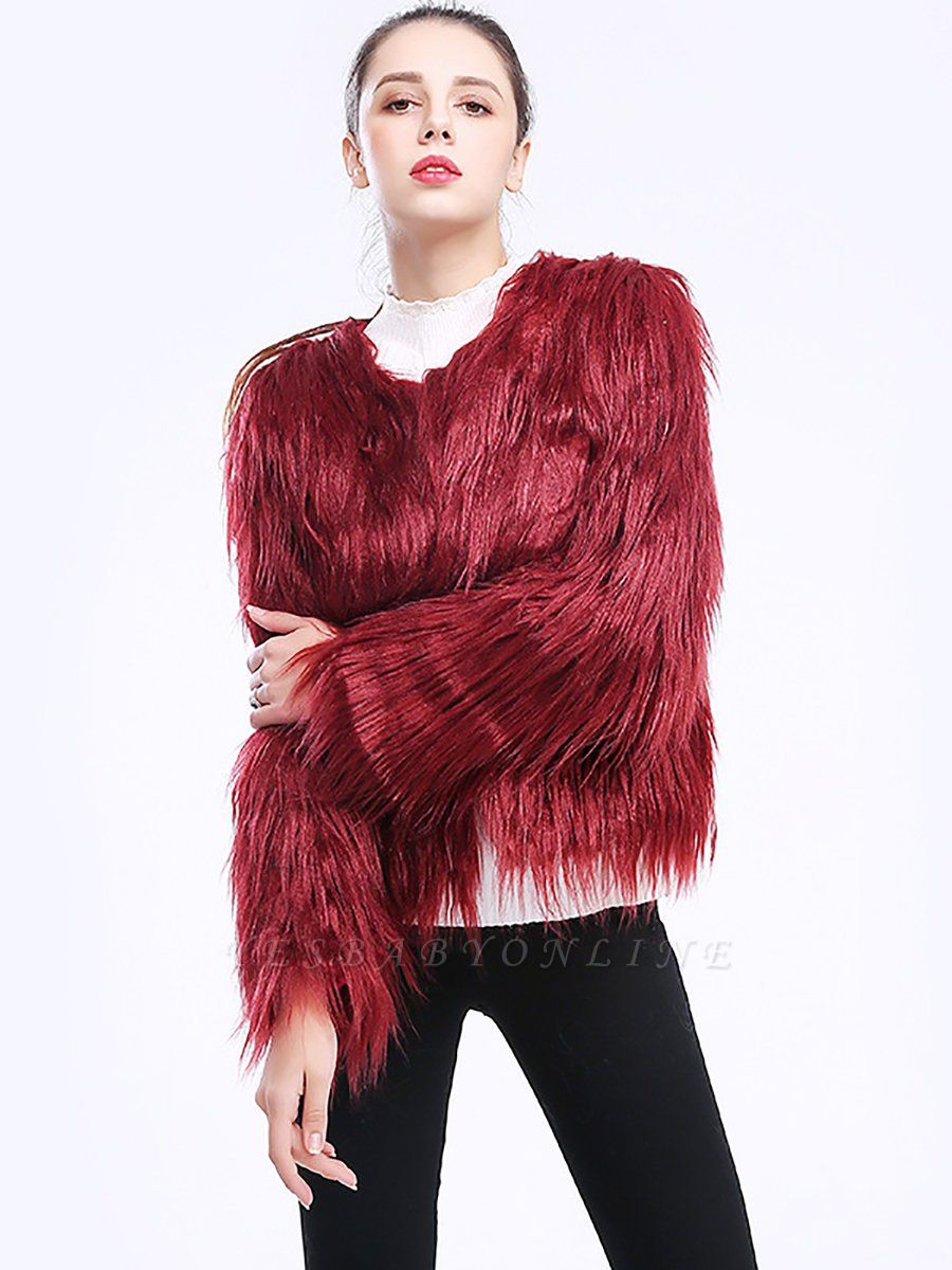 Casual Long Sleeve Fur And Shearling Coats