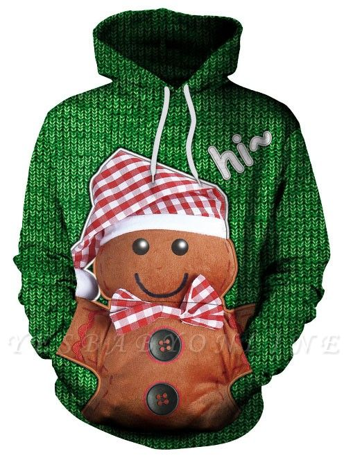 Couple's Christmas Hoodies Green Gingerbread Man Printed Casual Hooded Clothes for Men/Women