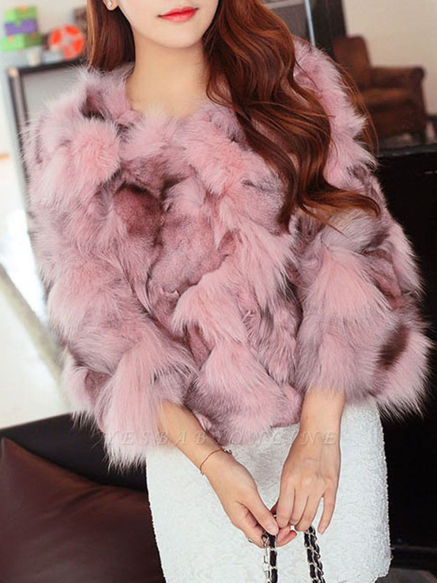 Plus Size Pink Casual Fluffy Crew Neck 3/4 sleeve  And Shearling Coat