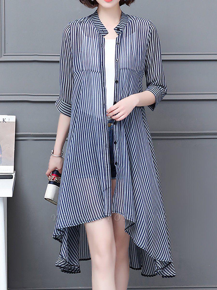 al Shirt Collar 3/4 Sleeve See-through Look Chiffon Striped