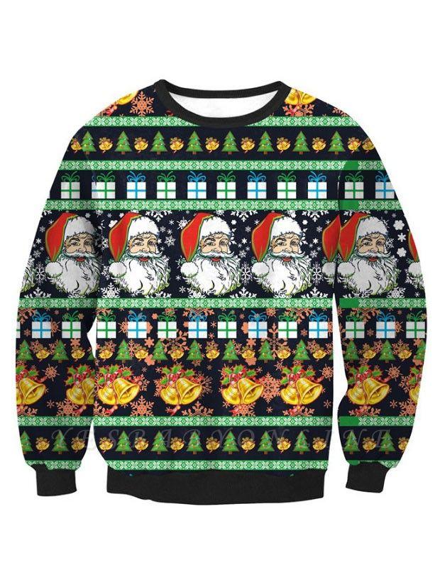 Black Santa Claus Printed Long Sleeves Cute Christmas Sweatshirts for Women