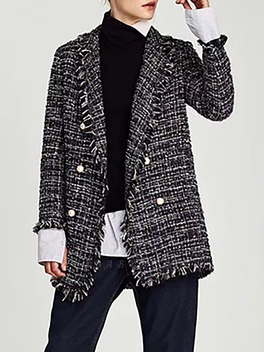 Royal blue Shift Shawl Collar Checkered/Plaid Coat
