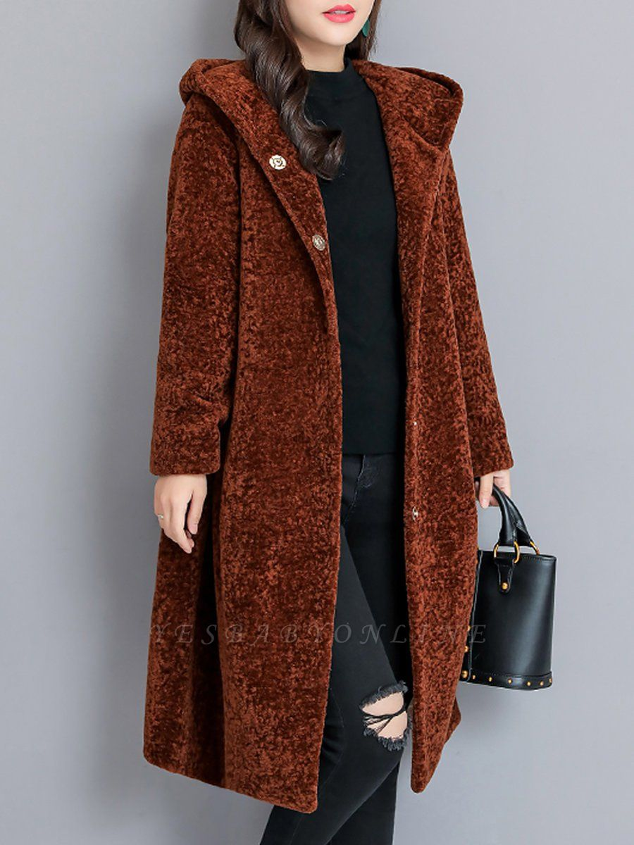 Buttoned Long Sleeve Hoodie Fur And Shearling Coats