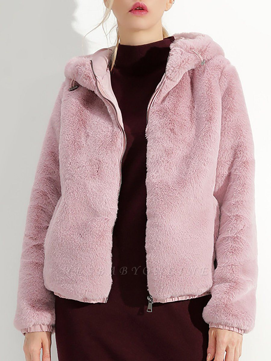 Fluffy Solid Hoodie Pockets Fur And Shearling Coats