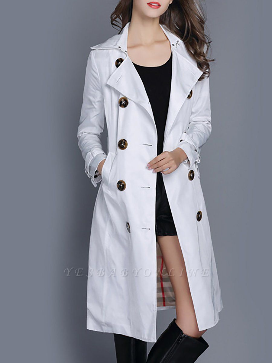 Long Sleeve Pockets Casual Buttoned Coat
