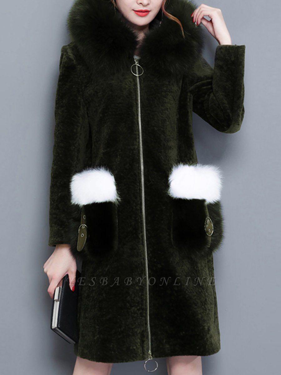 Shift Zipper Pockets Hoodie Fur and Shearling Coat