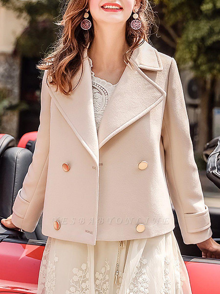 Long Sleeve Shift Casual Solid Lapel Buttoned Pockets Coat
