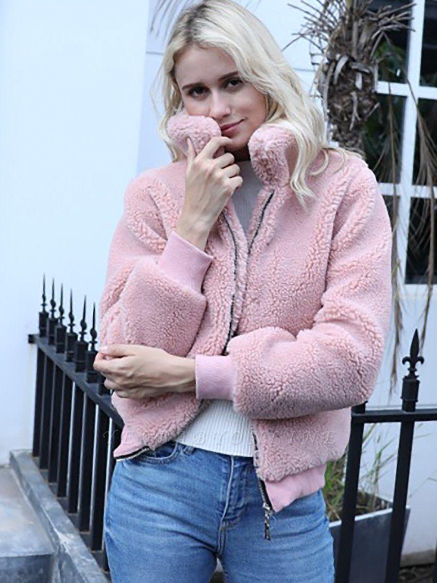 Long Sleeve Pockets Solid Fur And Shearling Coats