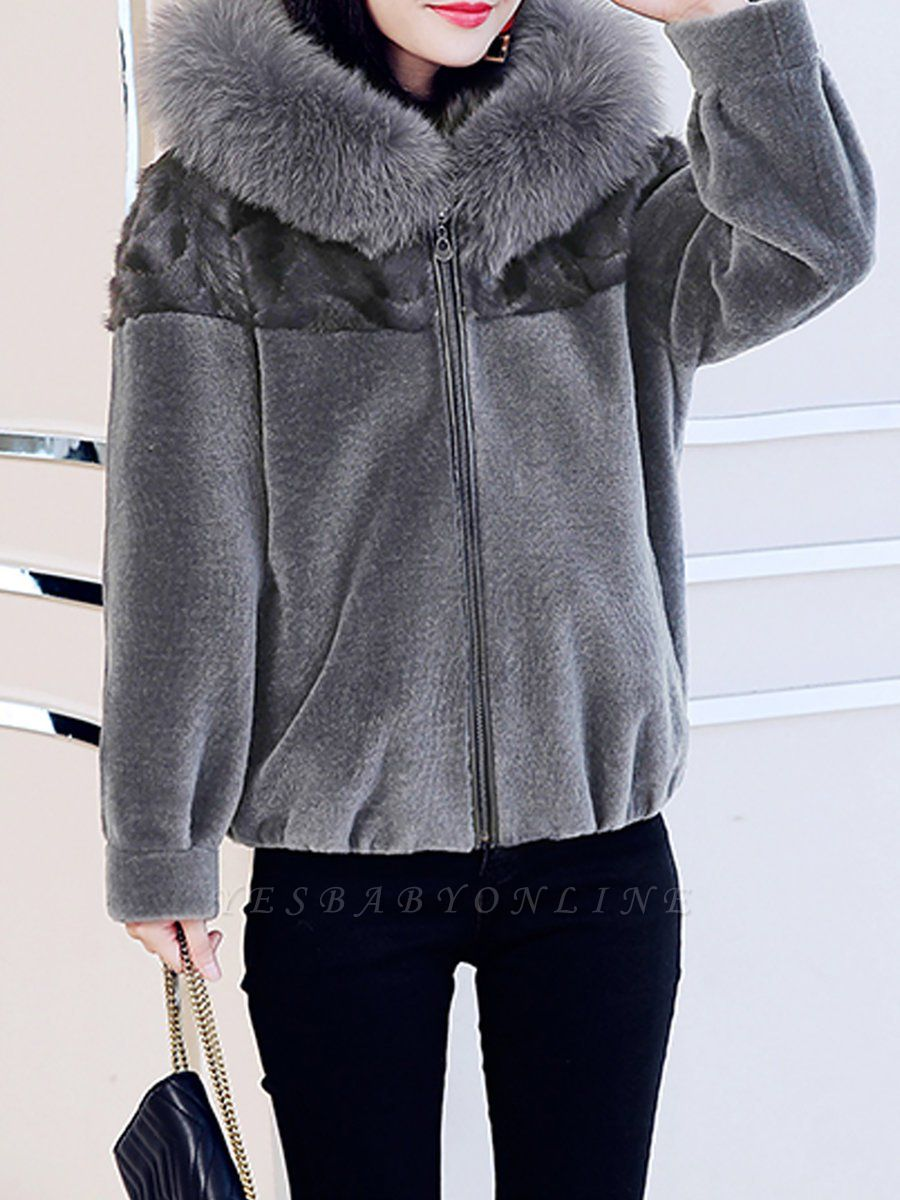 Hoodie Long Sleeve Zipper Fur And Shearling Coats
