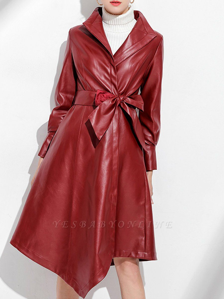 Leather Work Bow Long Sleeve Asymmetrical Coat