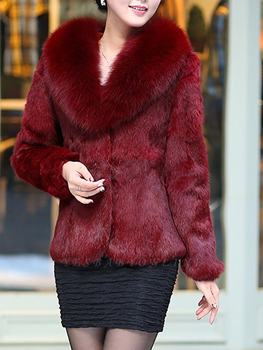 Fluffy Long Sleeve Shawl Collar Fur and Shearling Coat
