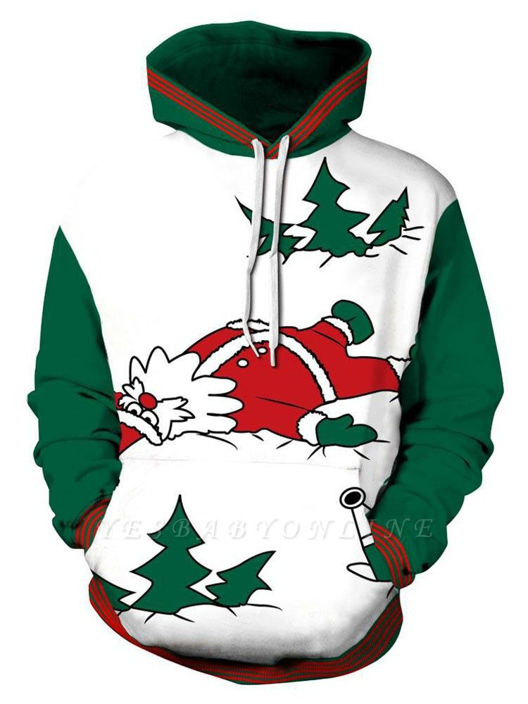 Plus Size Couple Hoodies Funny Christmas Cartoon Santa Claus Printed Loose Jumper Hooded Clothes for Men/Women - WSDear.
