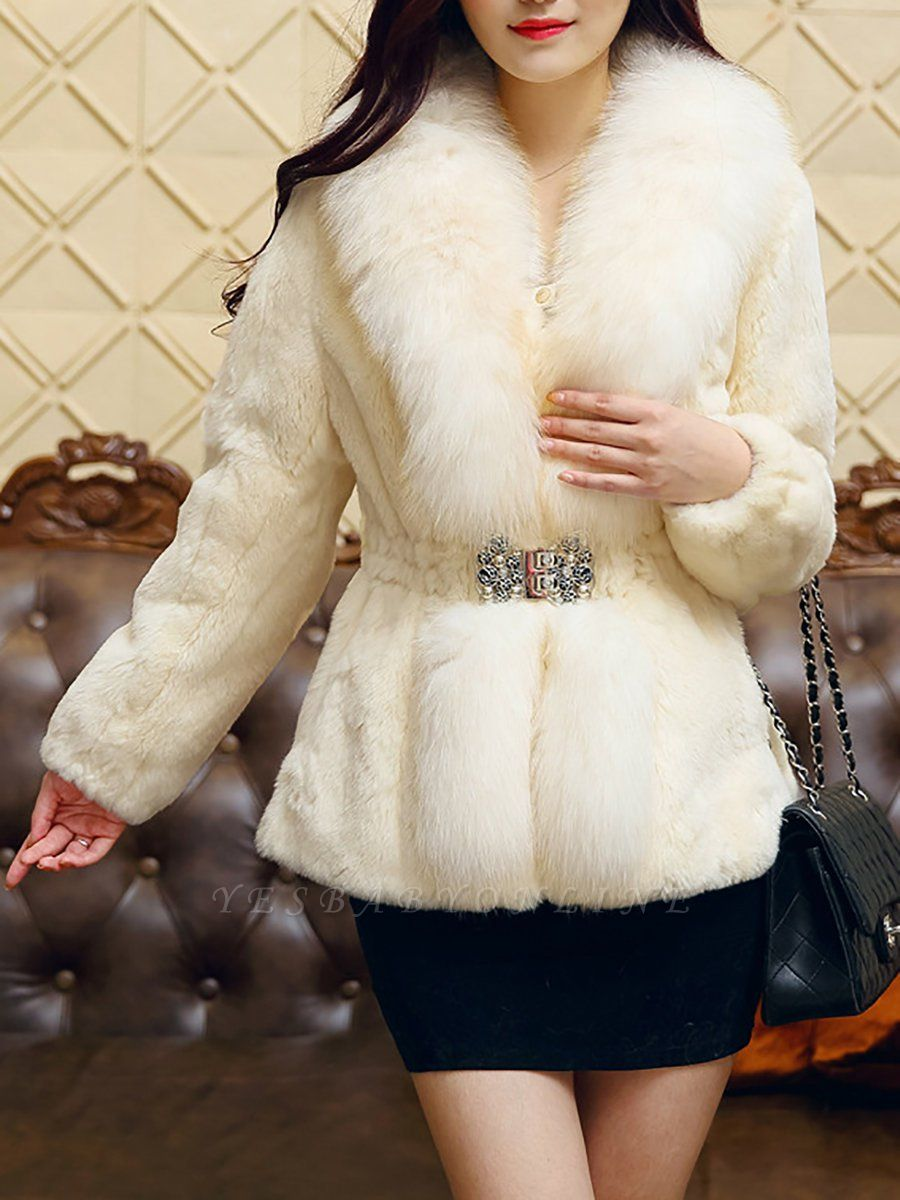 White Casual Shift Fluffy  Buttoned Fur and Shearling Coat