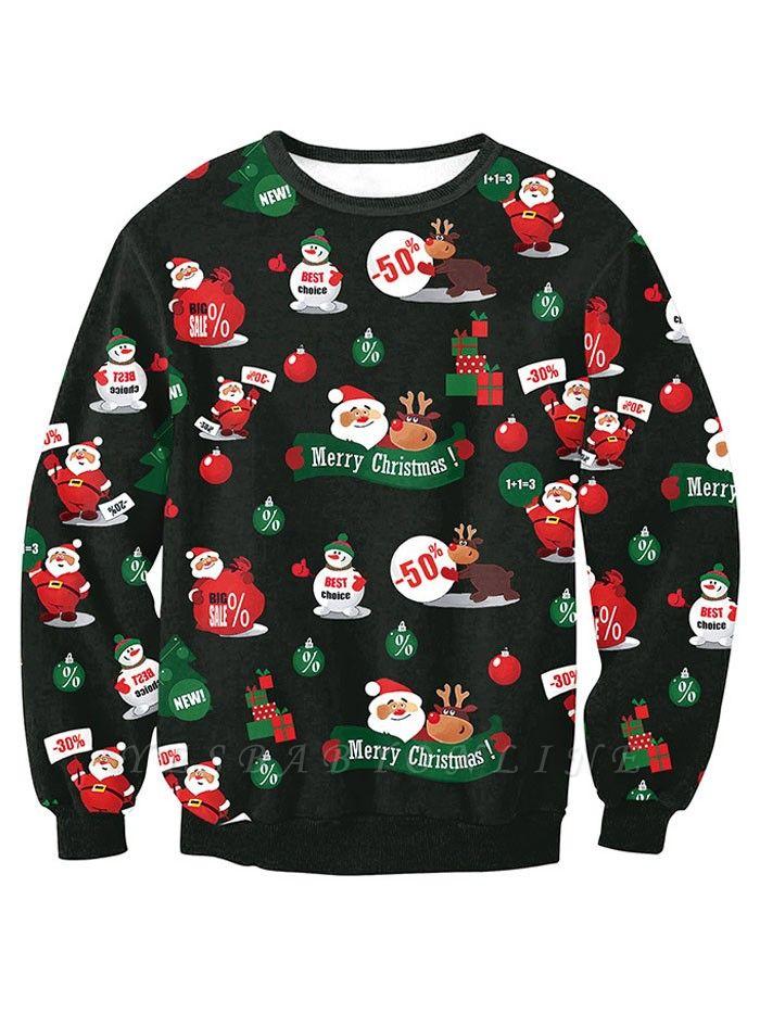 Casual Black Santa Claus Merry Christmas Sweatshirt For Women