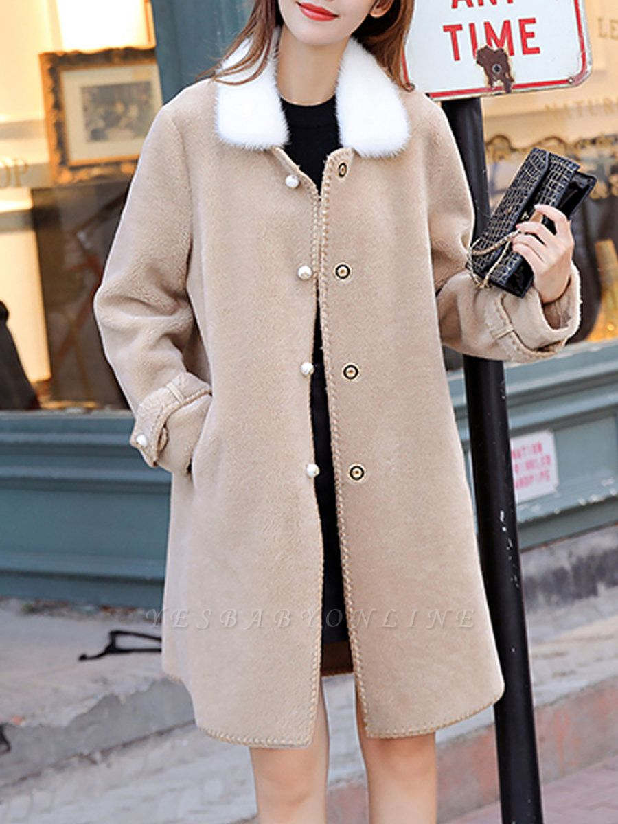 Buttoned Solid Shirt Collar Paneled Fur And Shearling Coats