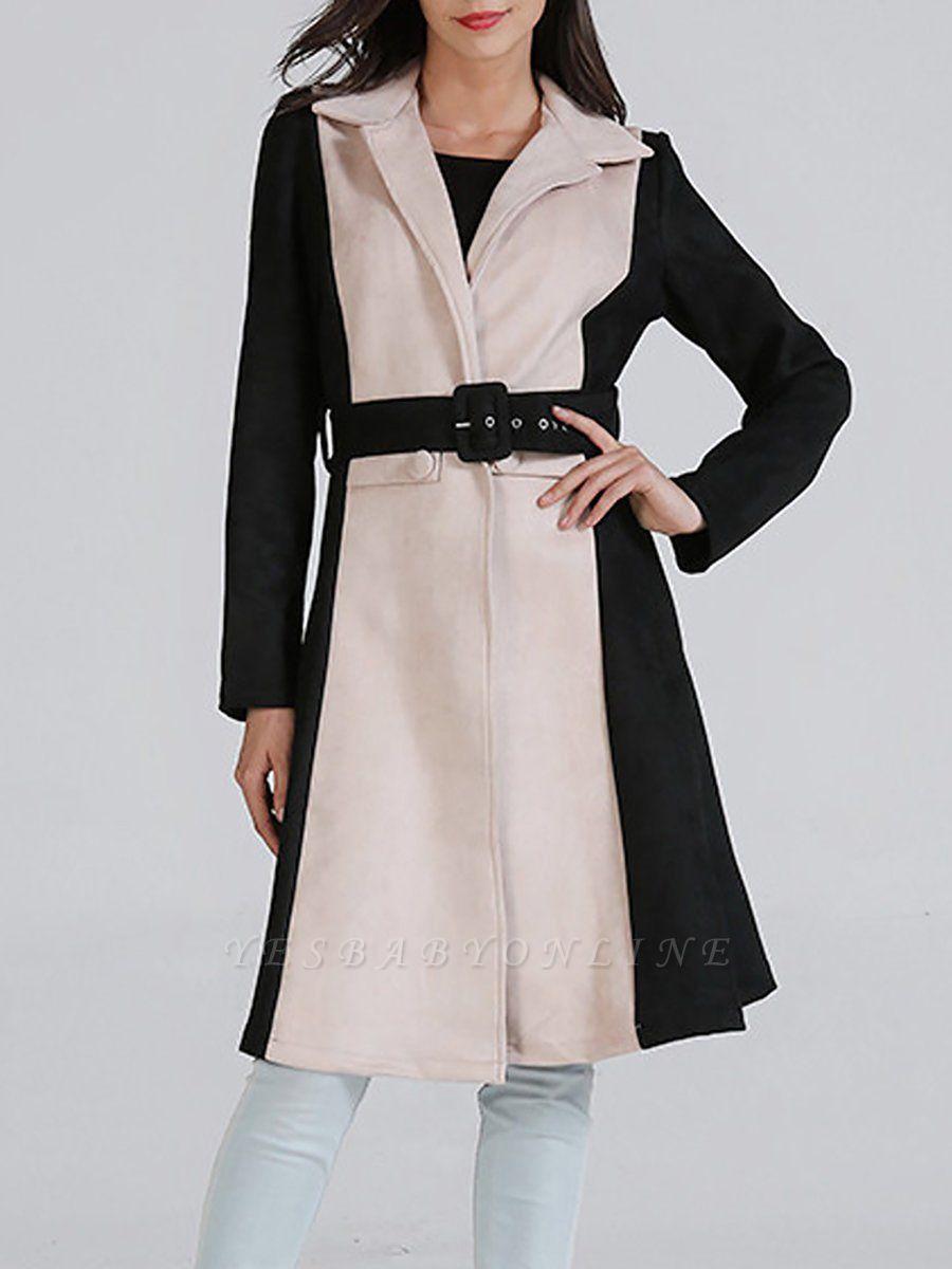 Black Solid Long Sleeve Color-block Coat