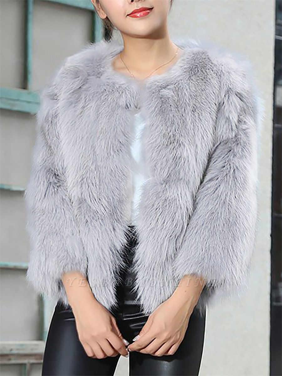 Crew Neck Fluffy Solid Fur and Shearling Coat