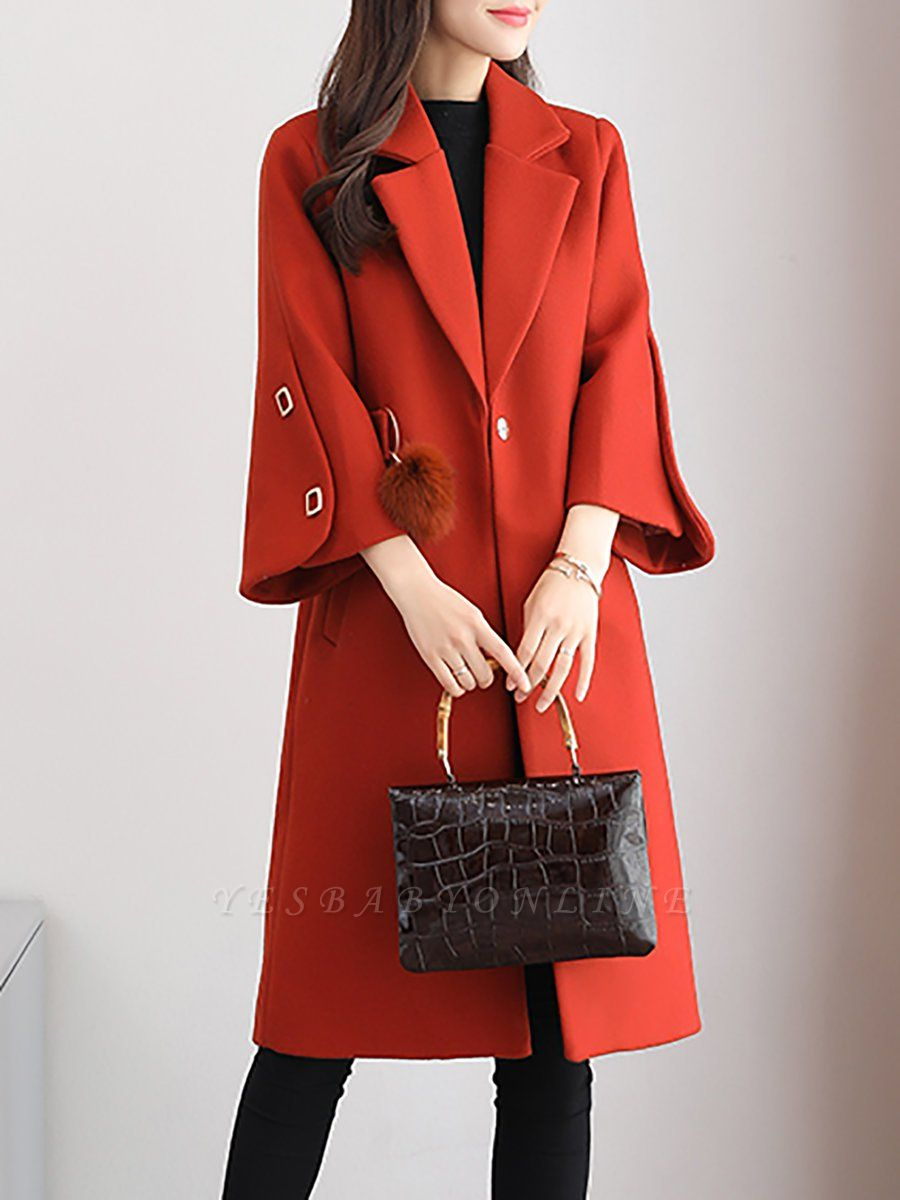 Solid Long Sleeve Casual Coat
