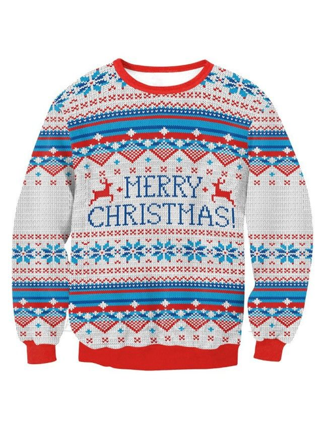 Merry Christmas Snowflake Printed Long Sleeves Ugly Jumpers Sweaters for Women