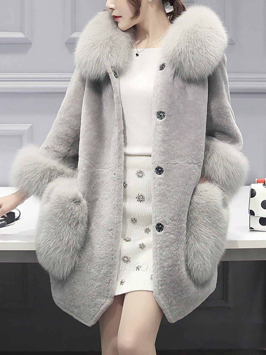 Buttoned Pockets Fluffy Paneled Fur and Shearling Coat