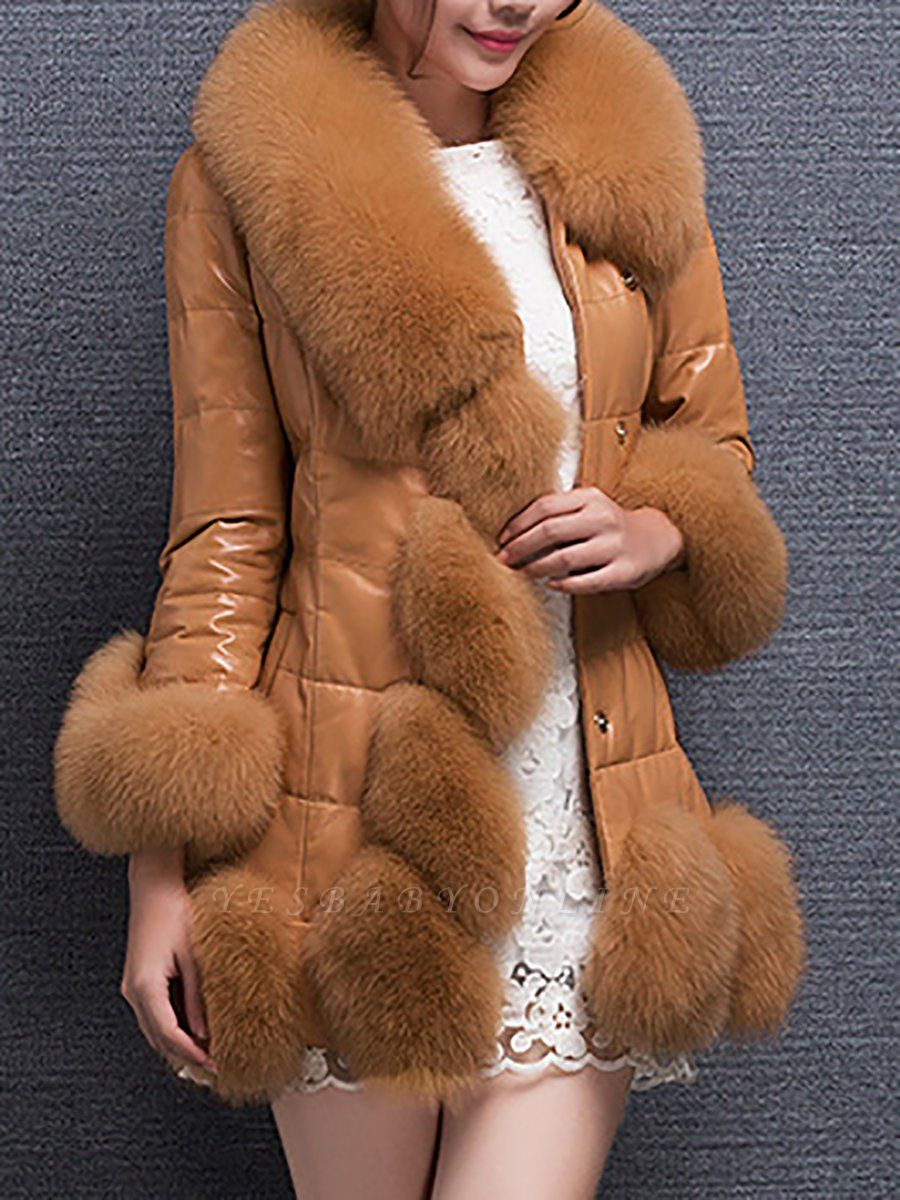 Fluffy Pockets Buttoned A-line Fur and Shearling Coat