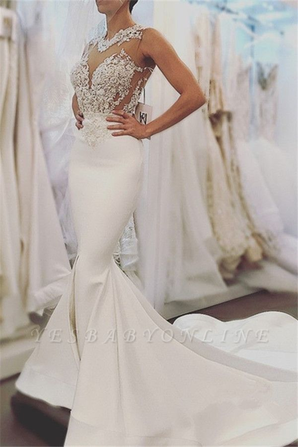 Glamorous Sleeveless Sexy Mermaid Wedding Dresses | Open Back Lace Bridal Dress Online