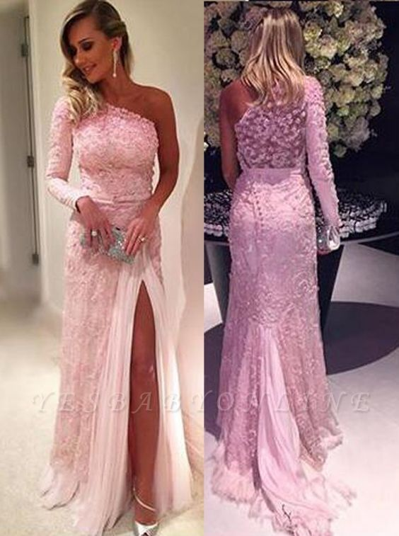 Split Lace Long-Sleeve Elegant Pink Evening Dresses
