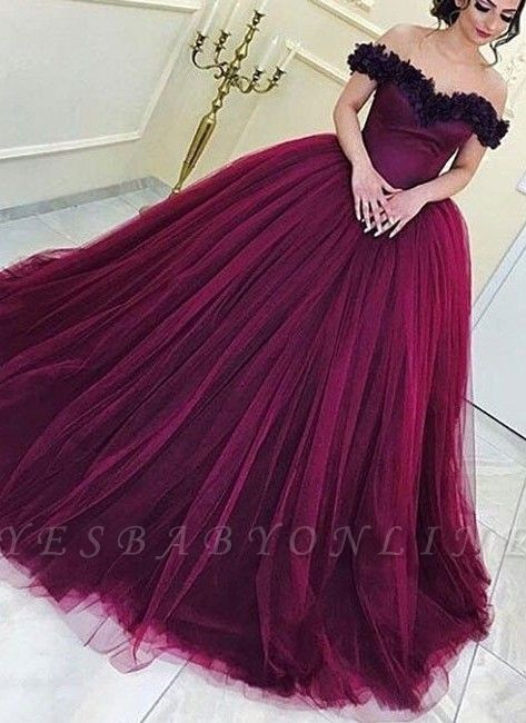 Long Appliques Sleeveless Tulle Ball-Gown Off-the-Shoulder Prom Dresses