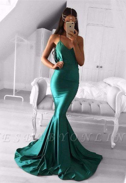 Sweep-Train Spaghetti-strap Sleeveless Green Modest Mermaid Prom Dress