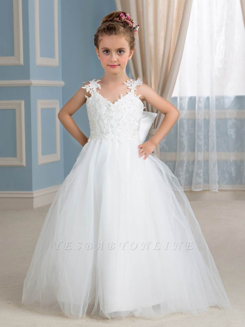 Lovely A-Line Tulle Lace Straps Sleeveless Bowknot Flower Girl Dress with Appliques