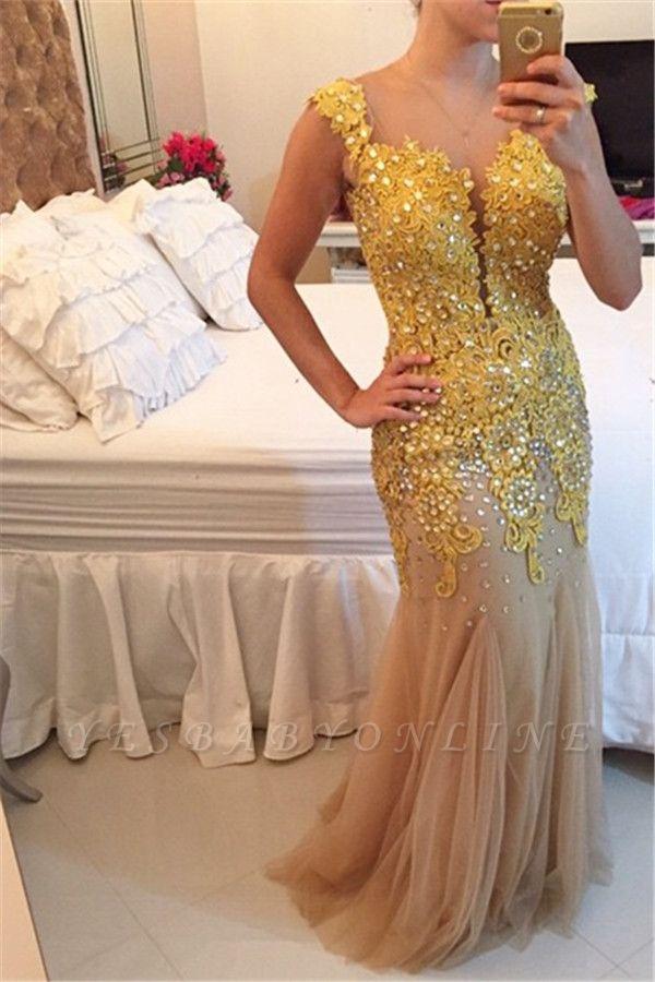 Beadings  Sheer Sleeveless Sexy Mermaid Applqiues Prom Dress