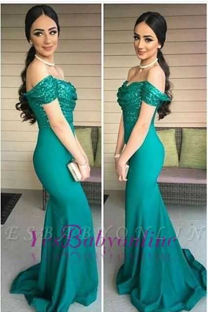 Off-the-Shoulder Sexy Mermaid Sequins-Top Dark-Green Evening Gowns
