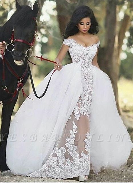 See Through Glamorous Off-the-Shoulder Overskirt Lace Detachable Wedding Dresses