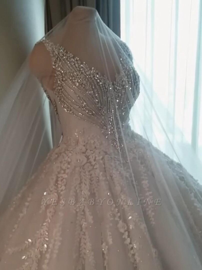 Straps V-neck Crystal Ball Gown Wedding Dresses with Lace