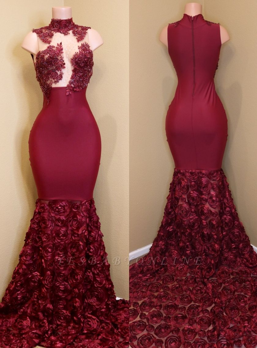 Sexy Rose Flowers Prom Dresses | Sleeveless Sheer Mermaid Evening Gowns