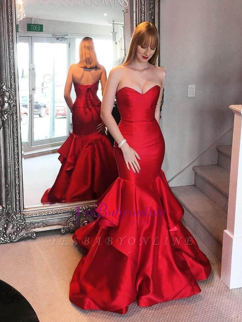 Ruffles Tiered Elegant Red Sweetheart Mermaid Prom Dresses