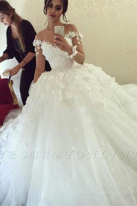 Ball-Gown Appliques Long Sleevess Stunning Wedding Dress
