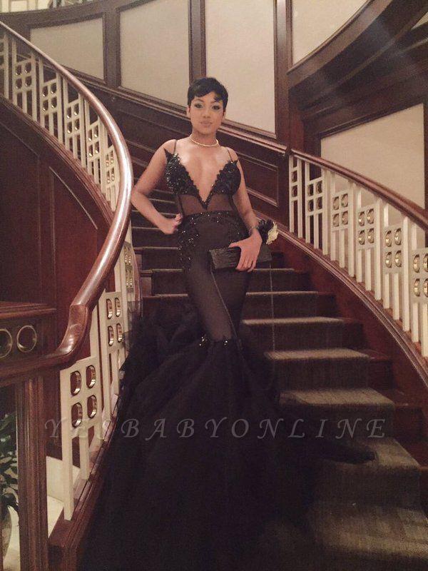 Deep V-neck Mermaid Prom Dresses | Long Spaghetti Straps Evening Gowns