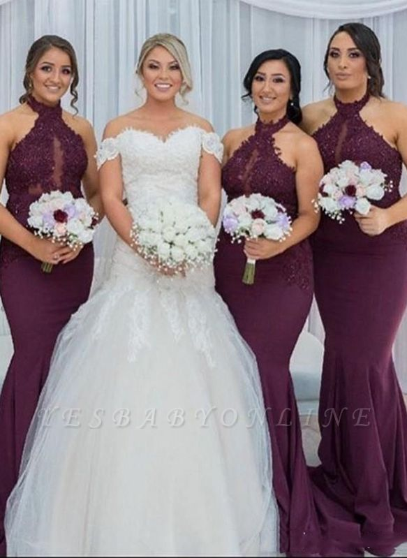 Gorgeous Lace Bridesmaid Dresses | Mermaid Halter Maids Of Honor Dresses