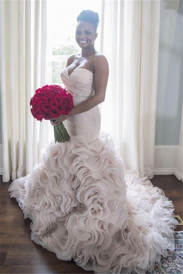 Open-Back Sweetheart Ruffles Court-Train Sheath Organza Wedding Dress
