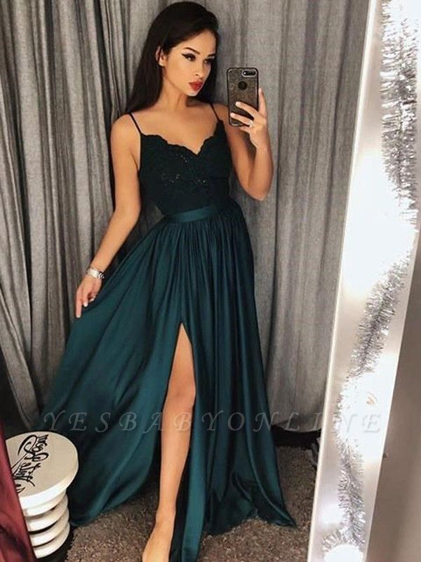 Sexy Side-Slit A-Line Prom Dresses   Spaghetti Straps Lace Appliques Long Evening Dresses