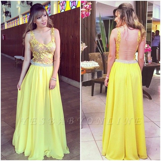 Lace Floor-length Hollow Yellow A-line Straps  Elegant Prom Dress