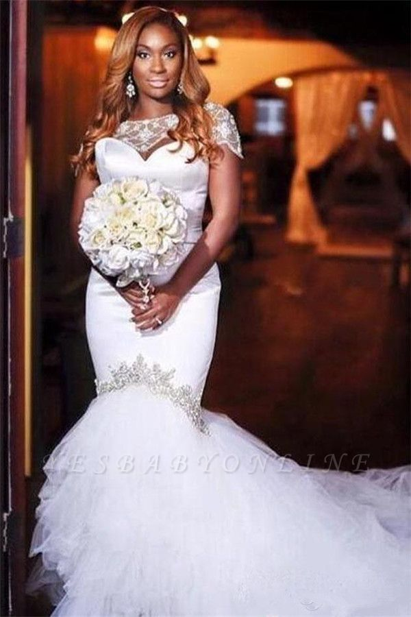 Jewel Short Sleeves Mermaid Wedding Dresses with Tiered Tulle Train