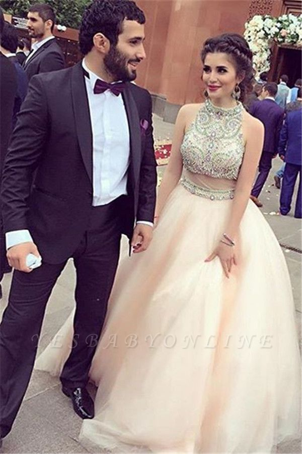 Sleeveless Charming Halter  Crystal A-Line Prom Dresses