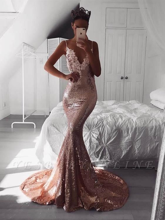 Sexy Spaghetti-Strap V-Neck Prom Dresses | Sleeveless Mermaid Backless Evening Dresses