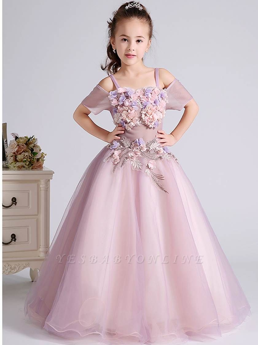 Lovely A-Line Tulle Short Sleeves Spaghetti Straps Flower Girl Dress with Flowers