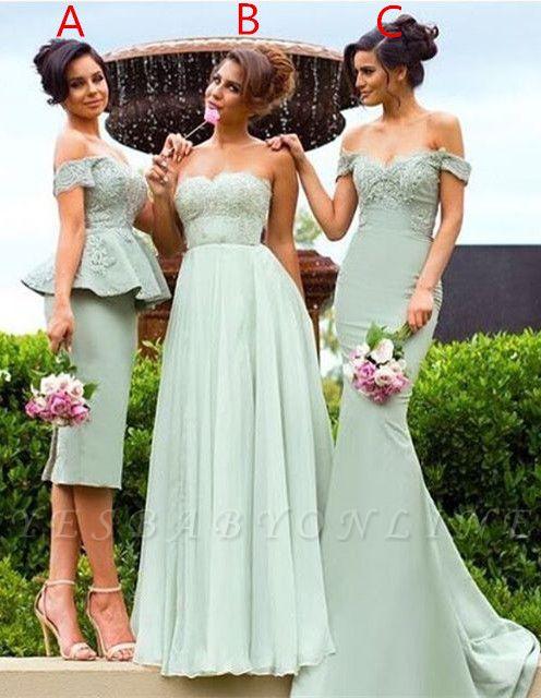Off-the-Shoulder Gorgeous Lace Mermaid Bridesmaid Dress