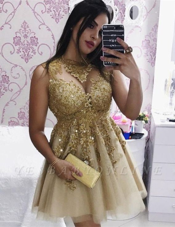 Delicate Gold Lace Beads Short Homecoming Dress | Sleeveless Cocktail Dress