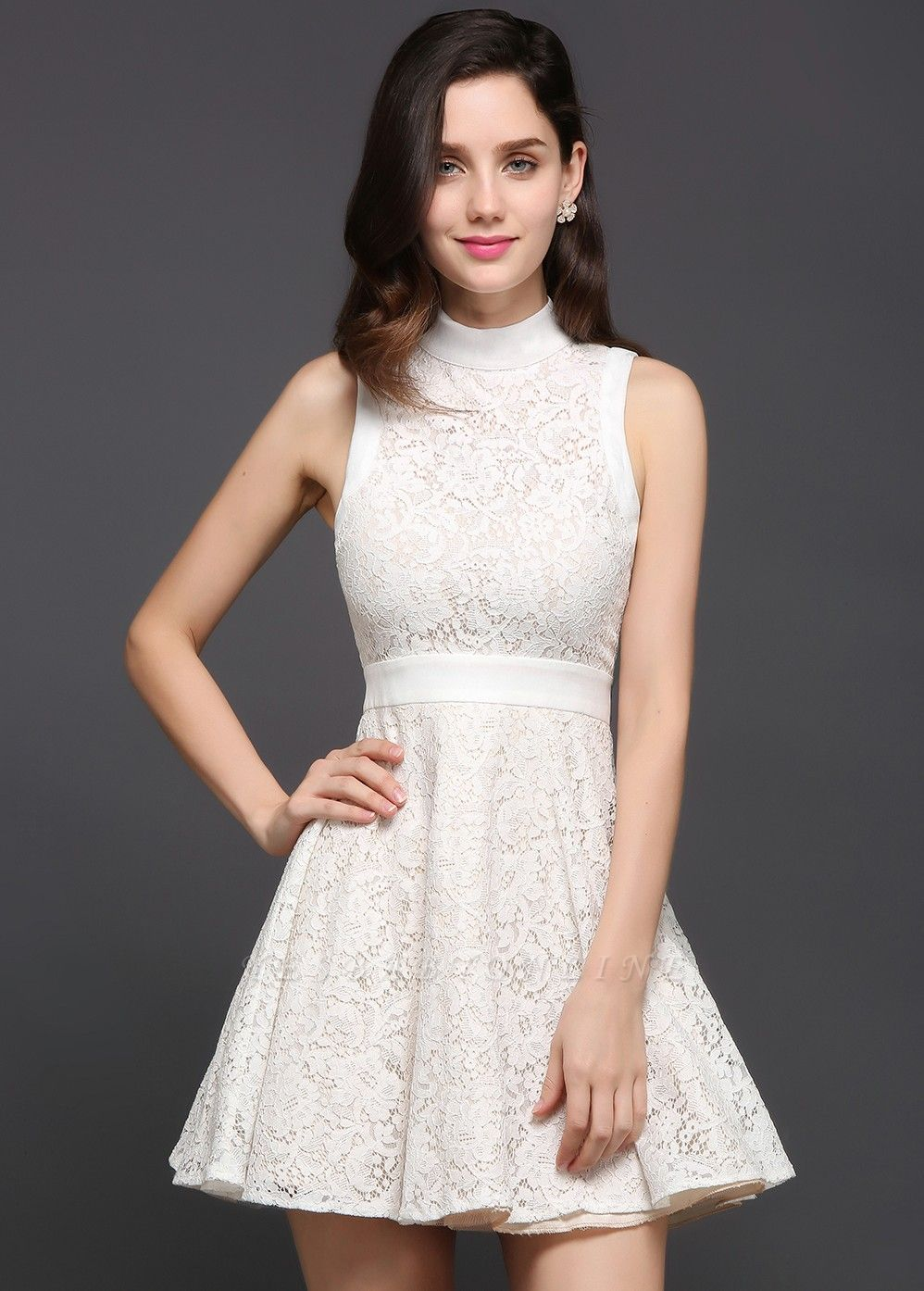 FRANKIE | Jewel White Lace Short Party Dresses