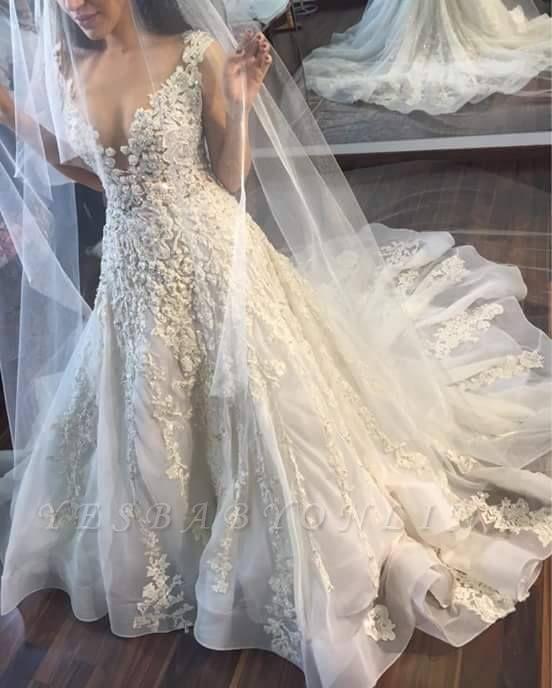 A-line Wedding Dresses V-Neck Flowers Ruffles Charming Bridal Gowns
